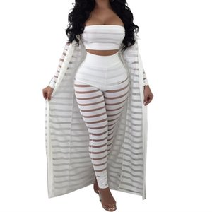 Wholesale Big Size S xl Summer Tracksuit Hollow Out Stripe Overalls Sexy Women s Set Three Pieces Suits Jumpsuit Casual Nightclub Wear