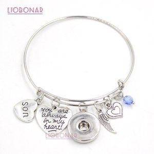 Wholesale Snap Jewelry Adjustable Expandable Wire Bangle Memorial Son Charm Bracelets Snap Button Bracelets for Family Gift