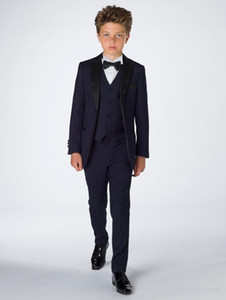 Attractive Boy Attire Tuxedos Complete Designer Notch Lapel Formal Children Clothing For Wedding Party Suits (Jacket+Pants+Bow+Vest)