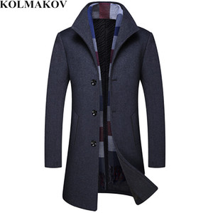 мужские шарфы  оптовых-2018 New Top Quality Mans Wool Jackets with Plaid Scarf Men s Woolen Coats Mens Winter Long Overcoats for Business M XL