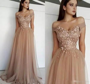 Wholesale Modest Elegant Off The Shoulder Evening Dresses Sweetheart Appliques Beaded Tulle Floor Length Brown Prom Dresses Formal Gowns Zipper Up