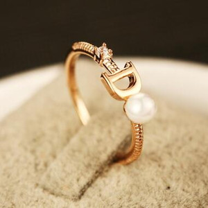 Wholesale gold wedding bands resale online - European Brand Gold Plated Letter D Ring Fashion Pearl Ring Vintage Charms Rings for Wedding Party Vintage Finger Ring Costume Jewelry