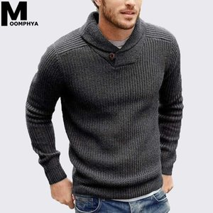 Moomphya Cowl neck knitted men sweater pullover men long sleeve winter sweater sueter hombre stylish slim male pull homme on Sale