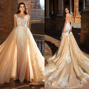 Wholesale New Designer Champagne Mermaid Wedding Dresses With Detachable Train Sheer Neck Lace Applique Garden Wedding Bridal Gowns Custom Made