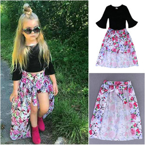 Wholesale Hot style girls kids clothes Baby girls suit fash Black T shirt Floral shorts dovetail skirt dress Summer Girl Clothes sets
