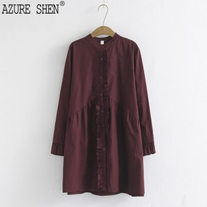 Wholesale AZURE SHEN spring summer fashion stand collarl full sleeve big szie loose Single breasted ruffles shirt women QC07101 XL