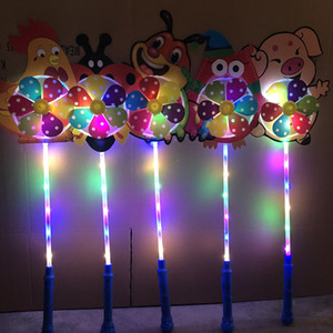 Wholesale KIDS LED cartoon windmill toys colorful pinwheel night lights Flower duck dog pet children baby toy boys girls fan wheel party decoration
