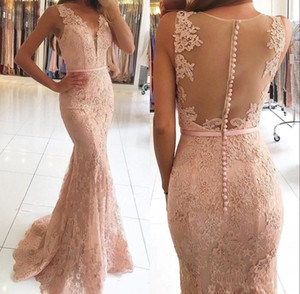 Wholesale 2019 Modest Evening Dresses Long Mermaid Prom Dress V Neck with Beaded Lace Sexy Sheer Back Sheath Custom made See through Bodice