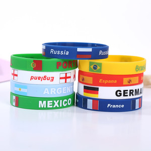 Wholesale Russia World Cup Wristband soccer ball national team Silicone sports Bracelet national flag Wrist Strap Event Party Supplies T2I090