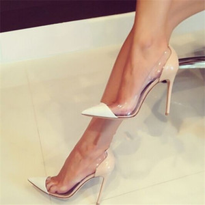 Wholesale transparent pointed toe high heels shoes resale online - Black White Red Nude Plexiglass PVC Patchwork Lucite Clear Shoes Office Party Stiletto Pumps Slip On Sexy Pointed Toe Transparent High Heels