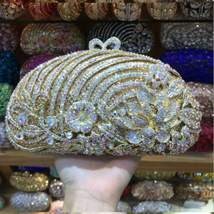 Wholesale Women party cocktail purple gold Evening black mini cluth Purse Bag Bridal Wedding Formal Dinner Metal Diamond Clutch Handbag