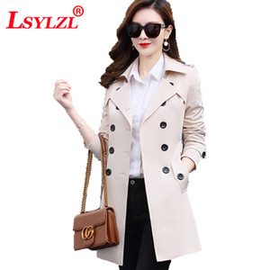 Wholesale 2018 spring and autumn new Korean version of the self-cultivation women's windbreaker large size long section chic coat jacketM2