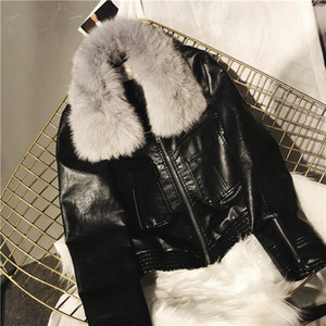 Wholesale 2018 Newest Women Leather Jacket with Real Fox Fur Bont PU Leather Slim Fit Women Jacket