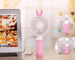 Fashion Summer Cartoon Adorable Rabbit Or Bear Style Mini Fan Handheld And Portable With Rechargeable Lithium Battery USB Fan