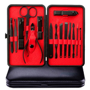 Wholesale 15 in Nail Clipper Kit With Case Nail Care Set Pedicure Cutters Scissor Tweezer Knife Ear Pick Manicure Set Art Tools