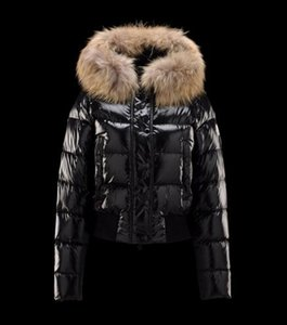 Wholesale hot Brand women down jacket thickening Short down parkas real raccoon fur collar hood down coat Black Red Color
