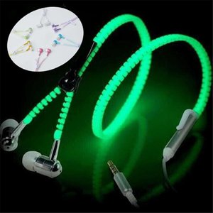 Wholesale LED Luminous Earphones Glow In The Dark Headphones Metal Zipper Night Lighting Glowing Headset With Mic Handsfree For Iphone X Samsung S8
