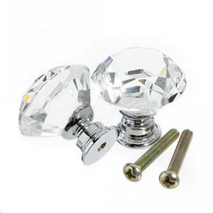 Wholesale Cabinet Knob Pull Handle 30mm Diamond Shape Crystal Glass Drawer Kitchen Door Wardrobe Hardware Pull Handles