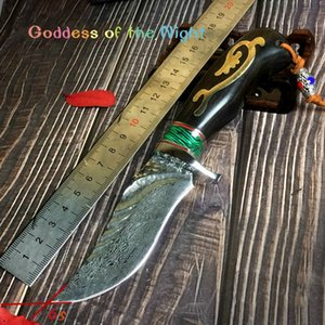 Wholesale Outdoor high hardness collection Damascus steel knife sharp small knife saber with tactical field survival ks40