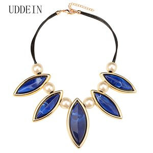 Wholesale multi layer black leather chunky chain blue resin gem pendant simulated pearl jewelry statement choker necklace collares