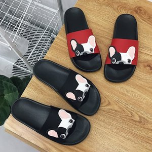 Wholesale Home Summer Cute Dog Cartoon Women Slides Fashion Pu Leather Beach Shoes Women Flat Heels Flip Flops Barefoot Slippers Zapatillas Mujer