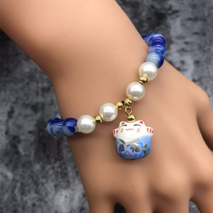 Wholesale 2018 new lucky cat crystal natural stone bracelet multi layer beaded bracelet female jewelry female gift