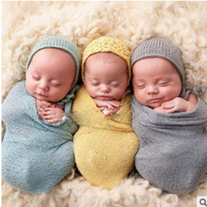 Wholesale 2018 Hot New Newborn Baby Swaddles Receiving Blankets Cotton Yarn Elastic Blankets Photography props Elastic wrapped yarn wrap40 cm
