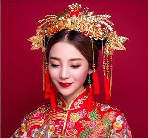 Wholesale jewelry heads for sale - Group buy Bridal tiara new show Wo clothing costume head jewelry set earrings red headdress Chinese wedding wedding jewelry