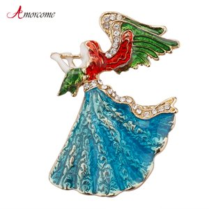 Wholesale Amorcome Angel Wings Music Angel Brooch Blue Dress Czech Crystal Brooch Enamel Pins For Fashion Women Girl Jewelry