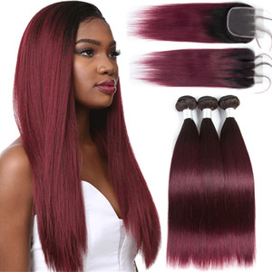 Per-colored Brazilian Straight Hair 3 Bundles with Closure T1B99J 1b burgundy Human Hair Extensions Ombre Non-remy Hair Weave Bundles HCDIVA