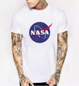 WISHCART NASA Logo Print T-shirt Mens New Summer Short Sleeve Cotton Men t shirt Brand Designer Casual Fitness Clothing Tops Tees