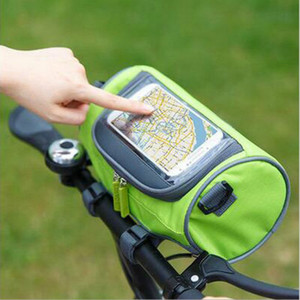 Waterproof Front Tube Handlebar Cylinder travel Bags Panniers Touch Screen Phone Bag for bicycle