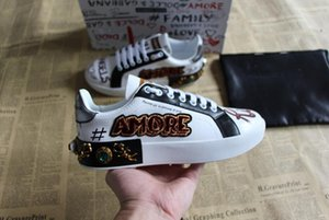 Wholesale New brand designer shoes for man women unique low top real leather rubber sole summer winter special casual ace shoes white size