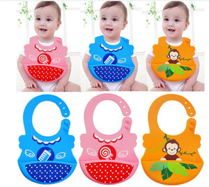 Best quality Silicone Waterproof Bibs - Soft Baby Bibs with Food Catcher Pocket - For Girls & Boys - Easily Wipes Clean&Dries animal design on Sale