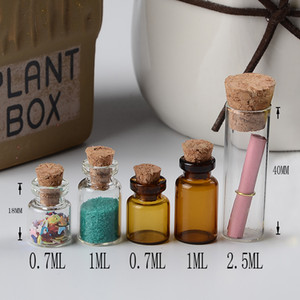 Wholesale color glass jars resale online - 0 ml ml ml Mini Transparent and Brown Color Bottles With Cork Empty Tiny Glass Amber Vials Jars Small Gift Bottle