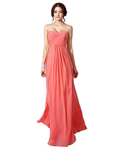 Clearbridal Women's Sweetheart Chiffon Bridesmaid Wedding Dresses Pleats Prom Dresses on Sale
