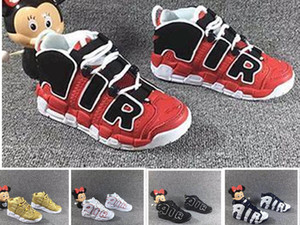 Wholesale New QS SUP Gold Olympic Red Kids Basketball Shoes for M Scottie Pippen Uptempo Boys Girls gift Sports shoes Sneakers