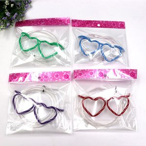 Wholesale Funny Soft Heart Glasses Straw Unique Flexible Drinking Tube Kids Party Accessories for Birthday Party Supplies QW8760
