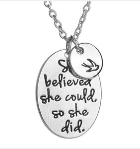 Wholesale best friendship gifts resale online - Best Friend Necklace she believed she could so she did Disc Swallow Charms Pendant Necklace For Women Friendship Inspirational Jewelry Gift