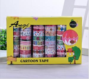 Korea 2016 60pc set Kawaii Adhesive Tapes Cute Stickers Scrapbooking Children's Kindergarten DIY Cute Decorative Label Tapes kids Gift