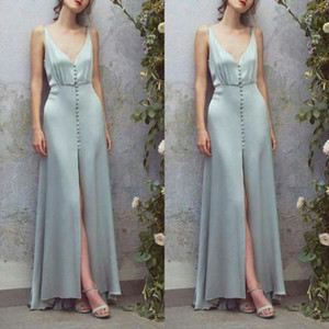 fancy mint green Evening Dresses Front Buttons Deep V neck Satin Slit sexy formal prom gowns for uk ladies simple berta evening dress on Sale