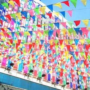 Wholesale Triangle Shape Cloth Flag Colorful Garden String Banner For Festival Wedding Party Decorations Hanging Pennant Factory Direct Sale cd3 BB