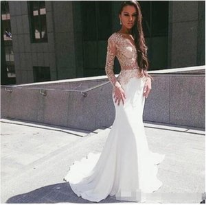 Vestido De Festa 2018 White Satin Long Sleeves Mermaid Prom Dresses Long Evening Gowns Appliques Lace Formal Party Gowns on Sale