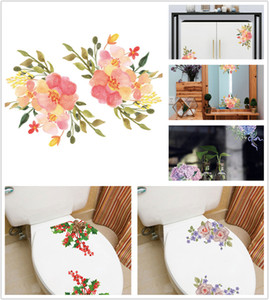 Wholesale 2018 new Christmas Decors Flowers Toilet Wall Arts sticker Decals Removable Stickers for bathroom refrigerator cabinet glass window