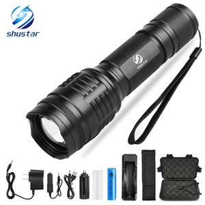 Powerful LED flashlight XML-T6 L2 8000 Lumens torch 5 lighting modes zoom flashlight Camping light with 18650 battery