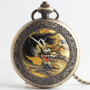New Bronze Chinese Dragon Quartz Pocket Watch Necklace for Men Women Children Xmas Gifts Jewelry