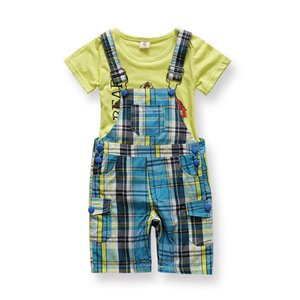 Wholesale New Born Cheap Imported Baby Boy Clothes Kids Fashion China Infant Clothing Sets Boys Suit Summer Plaid Overall Bib Suit