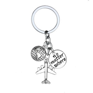 12 Pc Lot No Matter Where Global Airplane Charm Key Ring Keychain For Traveling Gift Key Chain Best Friend Lovers Keyring Gift