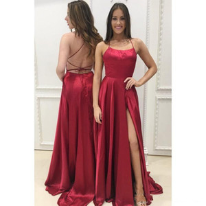 Free Shipping A Line Side Split Evening Dresses 2019 Spaghetti Criss Cross Straps Back Sweep Train Prom Dresses on Sale
