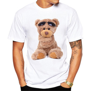 Wholesale 2018 latest popular printing design Teddy bear summer T shirt Cool men summer shirt brand fashion shirt cute bear Tee tops